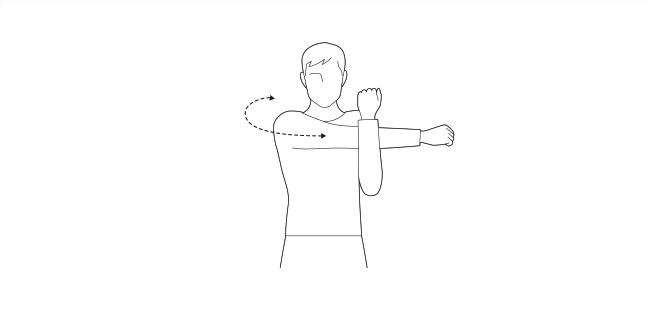 肩後方を伸ばすストレッチ
